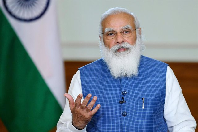Archivo - HANDOUT - 17 March 2021, India, New Delhi: Indian Prime Minister Narendra Modi speaks during the opening ceremony of International Conference on Disaster Resilient Infrastructure. Photo: -/Press Information Bureau/dpa - ATTENTION: editorial use