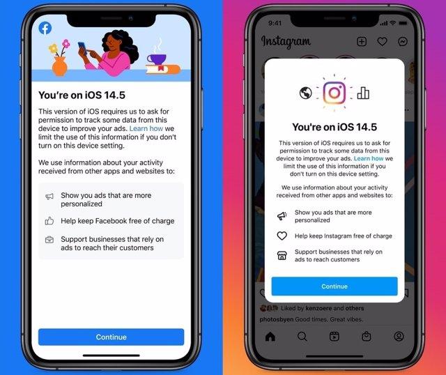 Notificación de Facebook e Instagram en iOS.