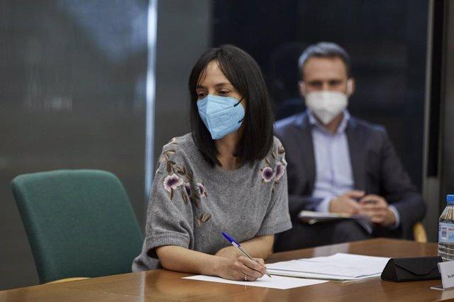 La delegada de Gobierno en Madrid, Mercedes González, durante una reunión del Plan Territorial de Protección Civil de la Comunidad de Madrid (PLATERCAM) sobre la pandemia en la región, a 5 de abril de 2021, en Madrid (España).