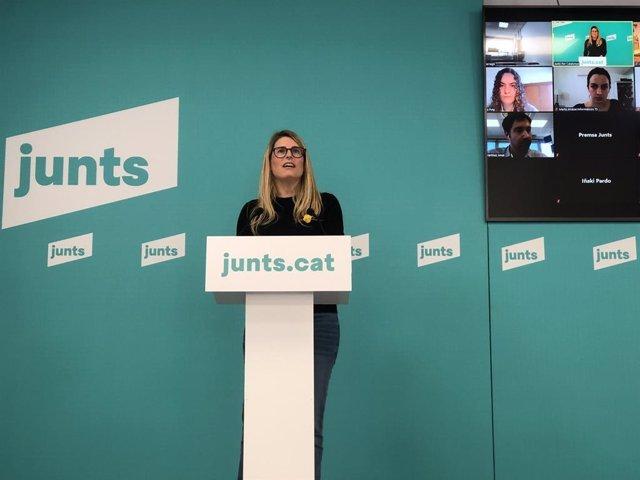 La vicepresidenta de Junts, Elsa Artadi, en una roda de premsa telemàtica.