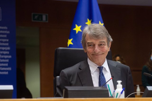 HANDOUT - 27 April 2021, Belgium, Brussels: European Parliament President David Sassoli attends a debate on the EU-UK trade and cooperation agreement on the second day of a plenary session at the European Parliament. Photo: Jan Van De Vel/EU Parliament/dp