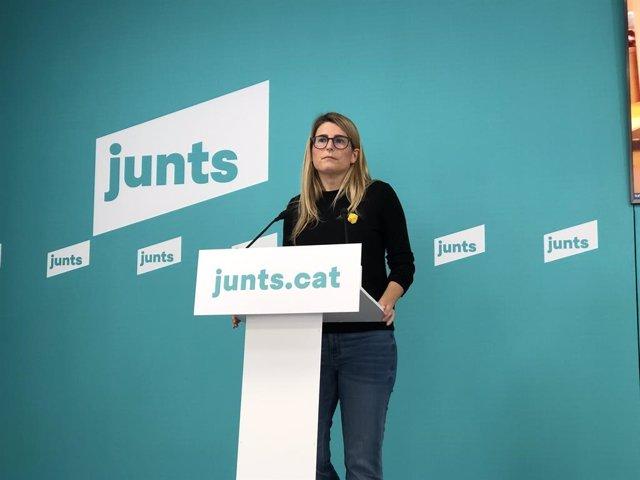 Arxiu - La vicepresidenta de Junts, Elsa Artadi, en una roda de premsa telemàtica.