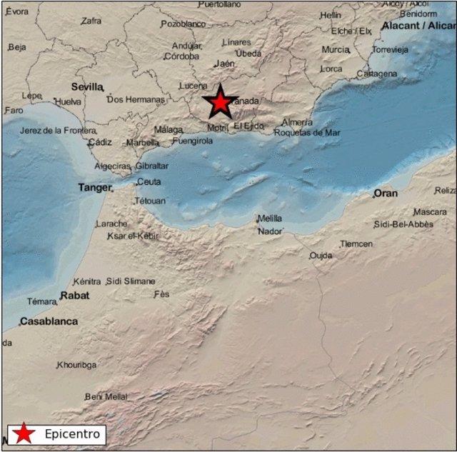 Localización del terremoto de magnitud 1,5 y epicentro en Atarfe (Granada) sentido este lunes a las 5,32 horas.