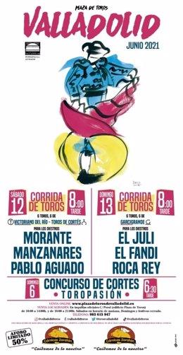 Nuevo cartel de la Feria taurina de San Pedro Regalado en Valladolid, aplazada al mes de junio.