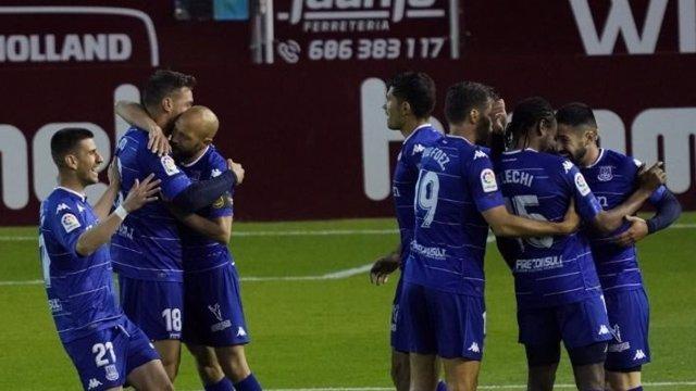 El Alcorcón celebra su gol en Albacete