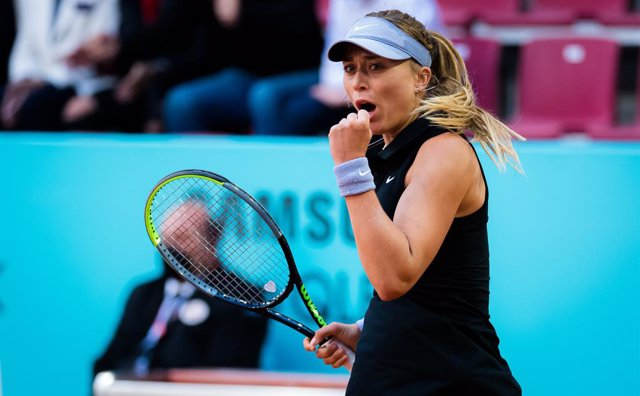 Paula Badosa of Spain in action during the third round of the 2021 Mutua Madrid Open WTA 1000 tournament against Anastasija Sevastova of Latvia