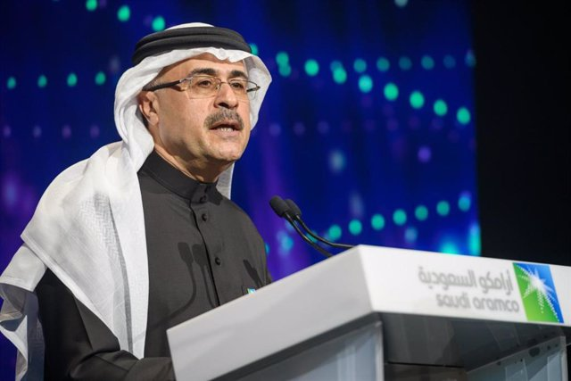 Archivo - 11 December 2019, Saudi Arabia, Riyadh: Saudi Arabia's state-owned oil company Aramco CEO Amin Al-Nasser speaks during an official ceremony marking the debut of the IPO of Aramco on the Riyadh Stock Exchange. Saudi oil giant Aramco has made its