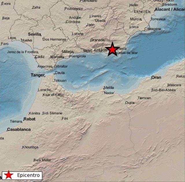 Epicentro del terremoto de magnitud 2,3 registrado en Almería