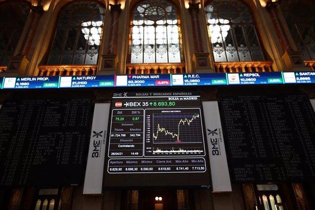 Valores del Ibex 35 en la Bolsa de Madrid.