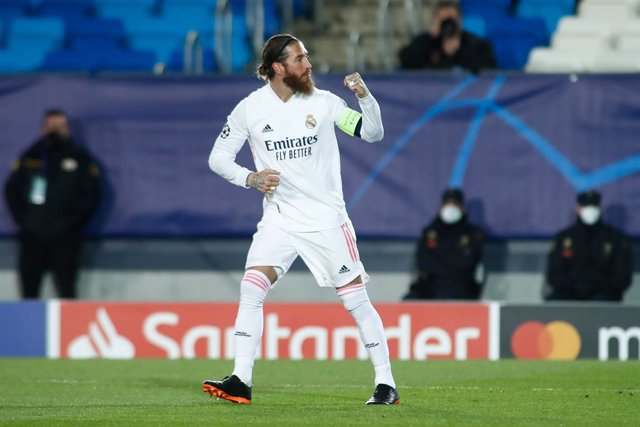 Archivo - Sergio Ramos of Real Madrid celebrates a goal during the UEFA Champions League, Round of 16, football match played between Real Madrid and Atalanta de Bergamo at Alfredo di Stefano on March 16, 2021, in Valdebebas, Madrid, Spain.