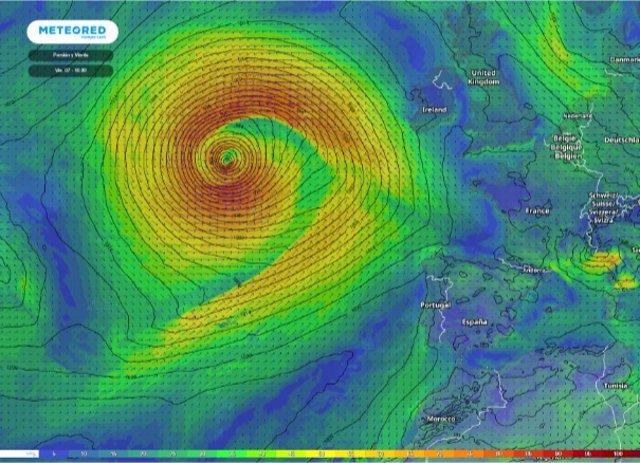 Una ciclogénesis explosiva podría provocar la llegada de una borrasca el fin de semana a la Península que podría ser nombrada 'Mathieu'.