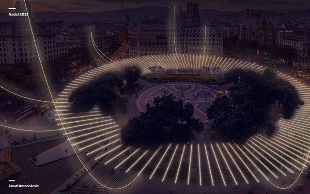El nou disseny dels llums de Nadal que lluirà la plaça Catalunya aquest 2021.