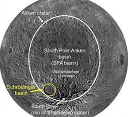 Vista del lado lejano sur de la latitud media de la luna que muestra la cuenca SPA delineada en blanco y la cuenca de Schrödinger delineada en amarillo (modificado de LPI Lunar South Pole Atlas)