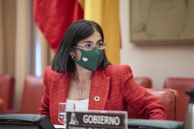 La ministra de Sanidad, Carolina Darias, durante la Comisión de Sanidad en el Congreso de los Diputados, a 29 de abril de 2021, en Madrid (España). La titular de Sanidad comparece este jueves en la Cámara Baja para abordar las medidas adoptadas frente al