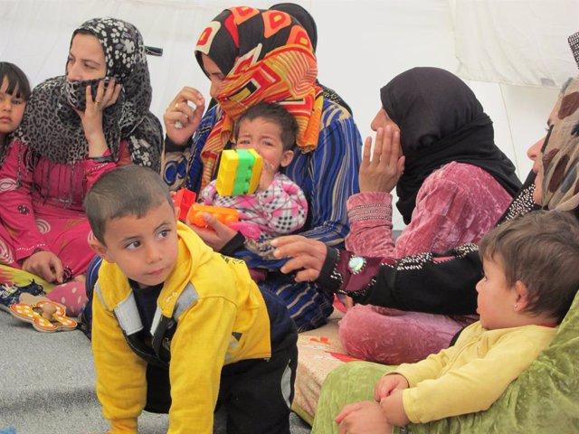 Archivo - Niño sirio refugiado en Líbano
