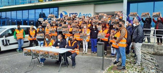 Rueda de prensa del comité de empresa de ITP Aereo en las instalaciones de la empresa en Barakaldo (Bizkaia).