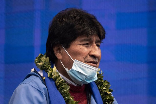 Archivo - 29 March 2021, Bolivia, La Paz: Evo Morales, former president of Bolivia, speaks during the 26th anniversary of the founding of the ruling party Movement for Socialism (MAS). Evo Morales was forced to resign after allegations of fraud against hi