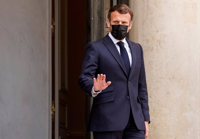 29 April 2021, France, Paris: French President Emmanuel Macron waits to receive Slovenian Prime Minister Janez Jansa ahead of their meeting at the Elysee Palace. Photo: Ludovic Marin/AFP/dpa