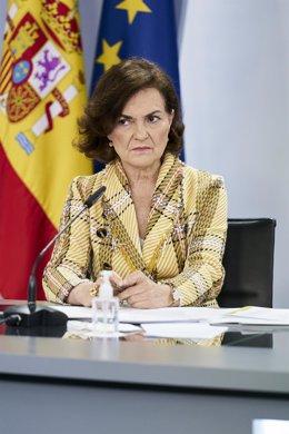 La vicepresidenta primera, Carmen Calvo, comparece en rueda de prensa posterior al Consejo de Ministros en Moncloa, a 4 de mayo de 2021, en Madrid (España). El Consejo de Ministros de hoy ha sido el último que el Gobierno ha celebrado antes del fin del se