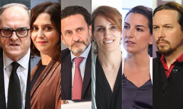 Candidats per a les eleccions a la Comunitat de Madrid 2021. D'esquerra a dercha: Ángel Gabilondo (PSOE), Isabel Díaz Ayuso (PP) Edmundo Bal (Ciudadanos) Mónica García (Més Madrid), Rocío Monestir (Vox) i Pablo Iglesias (Podem)