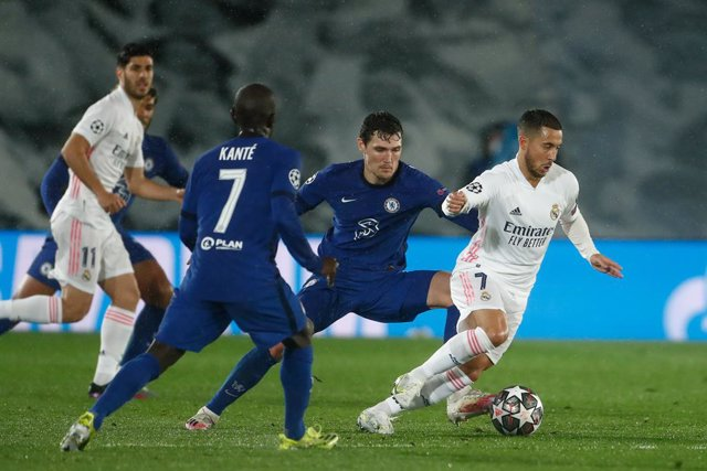 Eden Hazard of Real Madrid in action during the UEFA Champions League, Semifinals Leg Two, football match played between Real Madrid and Chelsea FC at Alfredo Di Stefano stadium on April 27, 2021, in Valdebebas, Madrid, Spain.