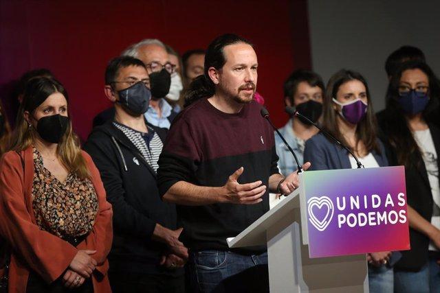 El candidato de Unidas Podemos a la presidencia de la Comunidad de Madrid y secretario general de Podemos, Pablo Iglesias, durante una rueda de prensa tras las votaciones de la jornada electoral, a 4 de mayo de 2021,