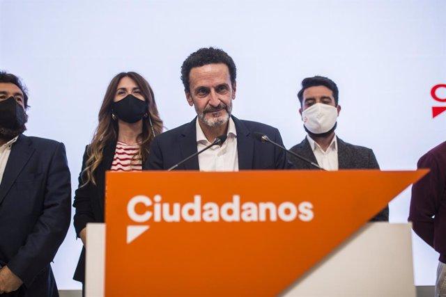 El candidat de Ciutadans a la Presidència de la Comunitat de Madrid, Edmundo Bal, compareix a la seu del partit després de conèixer-se els resultats electorals.