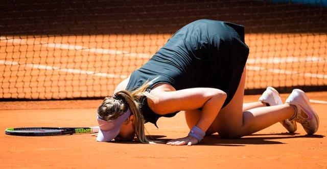 Paula Badosa of Spain after winning her quarter final match at the 2021 Mutua Madrid Open WTA 1000 tournament against Belinda Bencic of Switzerland