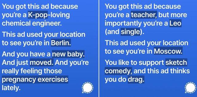 Dos de los mensajes que Signal iba a anunciar en Instagram para visualizar la información que Facebook recoge de los usuarios