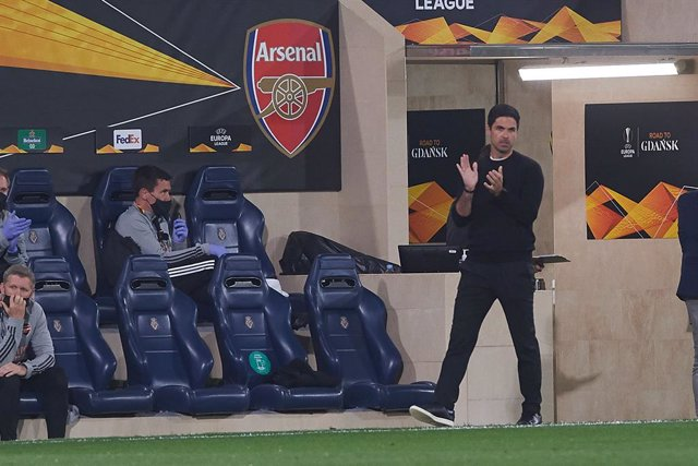 Mikel Arteta head coach of Arsenal FC during the Europa League semifinal match first leg between Villarreal and Arsenal FC at Estadio de la Ceramica on 29 April, 2021 in Vila-real, Spain