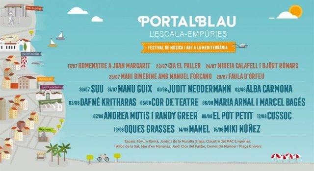 Cartel del XIV Festival de Música i Art a la Mediterrània Portalblau.