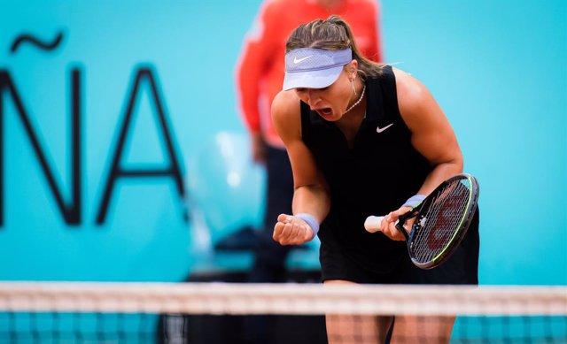 Paula Badosa of Spain in action during the third round of the 2021 Mutua Madrid Open WTA 1000 tournament against Anastasija Sevastova of Latvia