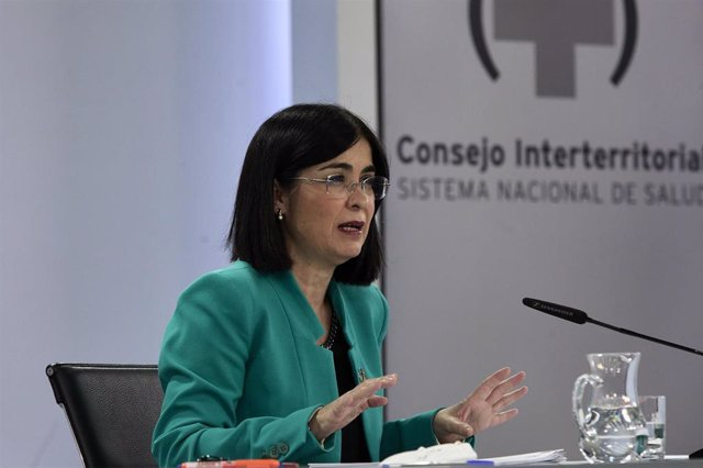 La ministra de Sanidad, Carolina Darias durante una rueda de prensa posterior al Consejo Interterritorial del Sistema Nacional de Salud