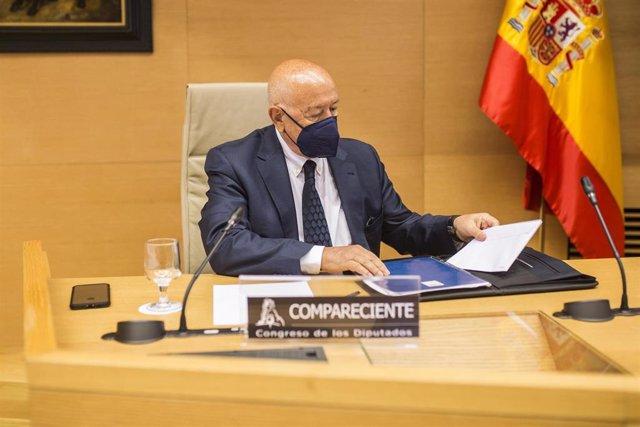 El exjefe de Asuntos Internos de la Policía Marcelino Martín Blas, durante su comparecencia en la comisión Kitchen del Congreso