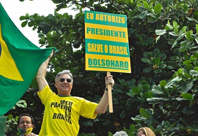 Un simpatizante del presidente de Brasil, Jair Bolsonaro.