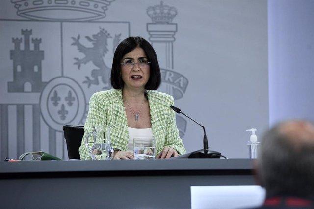 La ministra de Sanidad, Carolina Darias comparece en rueda de prensa posterior a la reunión del Consejo Interterritorial del Sistema Nacional de Salud (CISNS) en Moncloa, a 5 de mayo de 2021, en Madrid (España). Las comunidades autónomas han notificado es