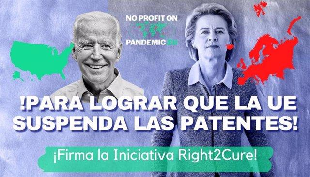 La iniciativa ciudadana 'Right2cure' pide al Gobierno que lidere en UE la propuesta de suspensión de patentes