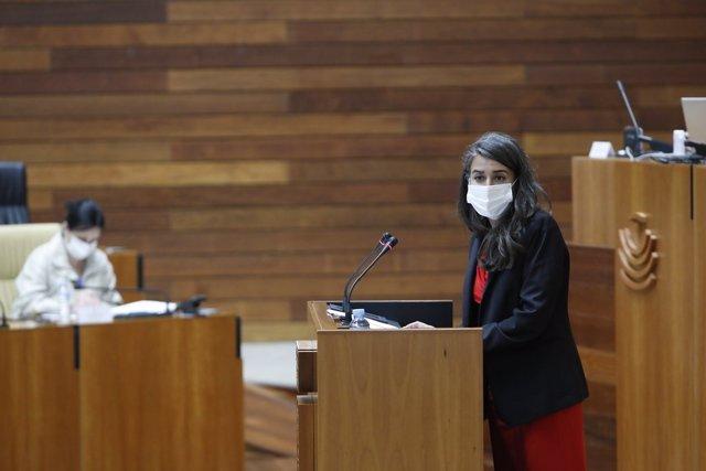 La presidenta y portavoz del Grupo Unidas por Extremadura, Irene de Miguel, en su intervención en la Asamblea durante el Debate sobre el Estado de la Región