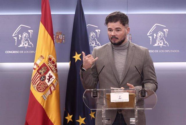 Archivo - Arxiu - El portaveu d'ERC al Congrés, Gabriel Rufián.