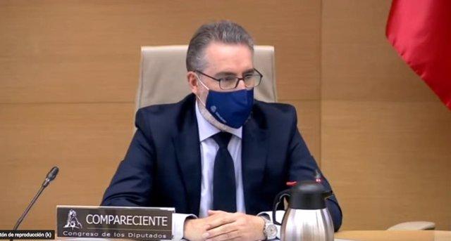 El comisario general de Informción de la Policía, Eugenio Pereiro, durante su comparecencia en la comisión Kitchen del Congreso
