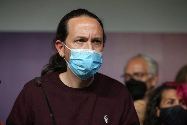 El candidato de Unidas Podemos a la Presidencia de la Comunidad de Madrid y secretario general de Podemos, Pablo Iglesias, durante una rueda de prensa tras la jornada electoral.
