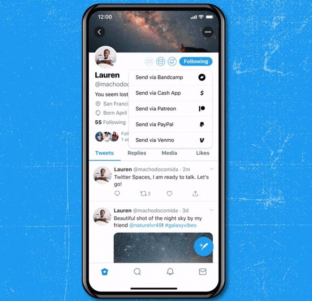 Twitter añade su sistema para enviar propinas a los creadores, Tip Jar