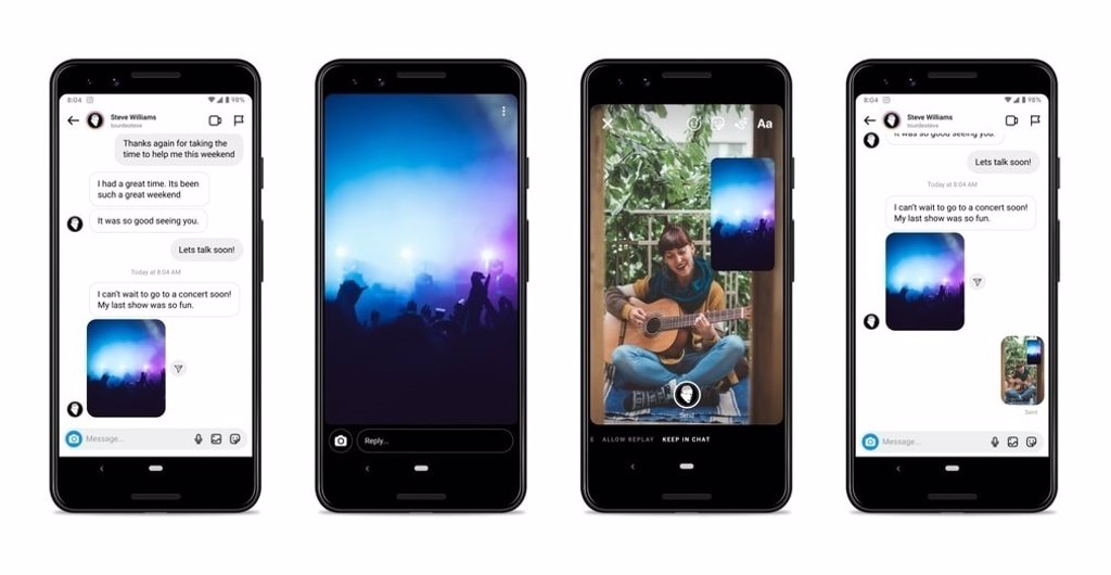 Instagram y Messenger facilitan el envío de audios sin mantener el botón pulsado e incorporan respuestas visuales
