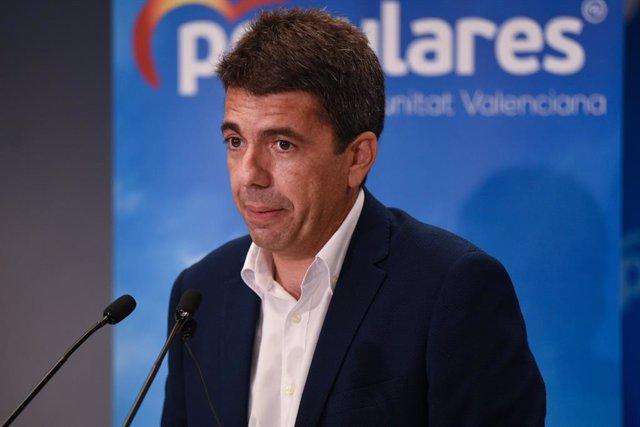 Carlos Mazón en la roda de premsa on ha anunciat la seua candidatura a presidir el PPCV