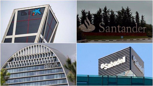 Archivo - Logos de CaixaBank, Banco Santander, BBVA y Banco Sabadell