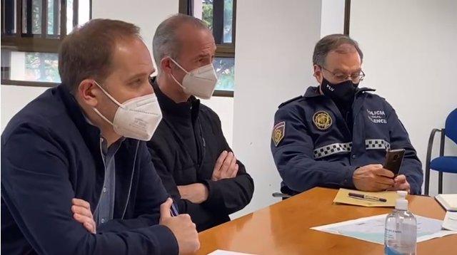 Reunió sobre el dispositiu de seguretat de la Missa d'Infants de València