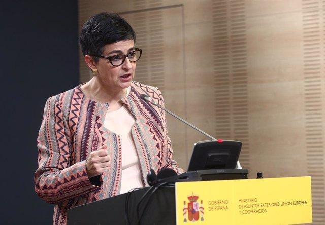 Archivo - La ministra de Asuntos Exteriores, UE y Cooperación, Arancha González Laya, durante una rueda de prensa posterior a una reunión programada con su homólogo de argelia, en el Palacio de Viana, Madrid, (España), a 29 de marzo de 2021.