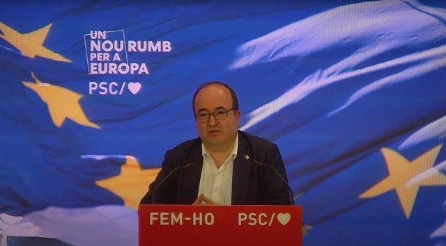 El ministre de Política Territorial i Funció Pública i primer secretari del PSC, Miquel Iceta, en la seva intervenció durant un acte del partit pel Dia d'Europa