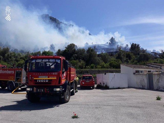 Incendio en Alcalalí (Alicante)