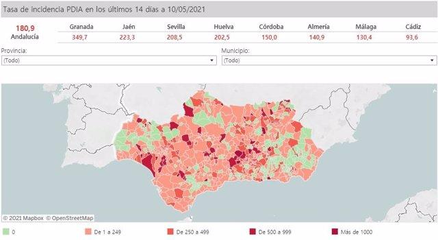 Mapa de Andalucía con nivel de incidencia de Covid-19 por municipios a 10 de mayo de 2021